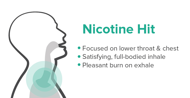 Infographic of a Nicotine throat hit that may cause harsh vape experience