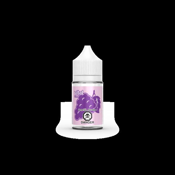 A bottle of Grape E-Liquid by Vital E-Juice Brand