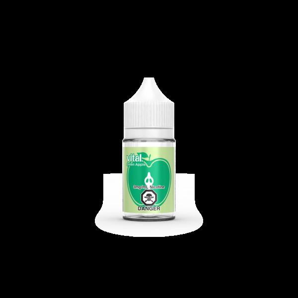 A bottle Green Apple E-Liquid by Vital E-Juice Brand
