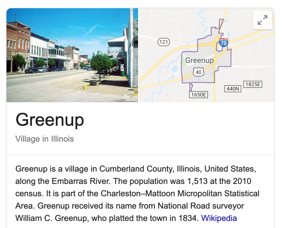 Greenup Illinois Google Maps Snippet