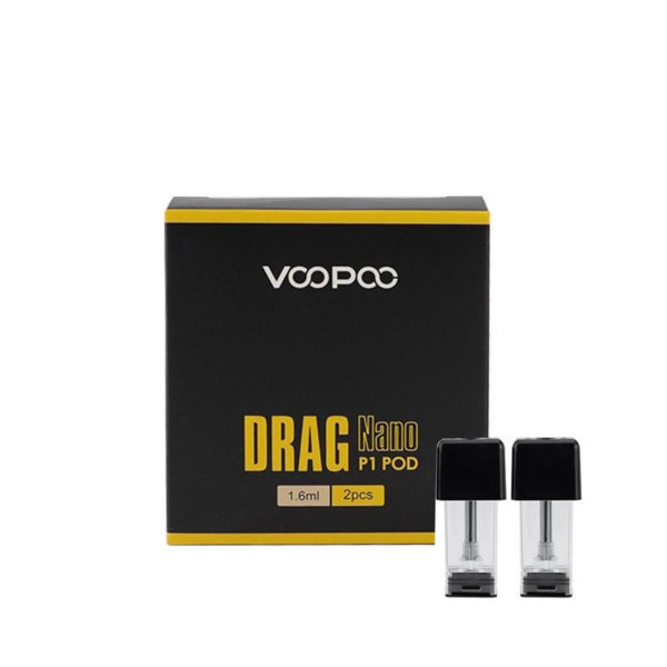 A pack of two P1 replacement pods for the DRAG NANO Pod System