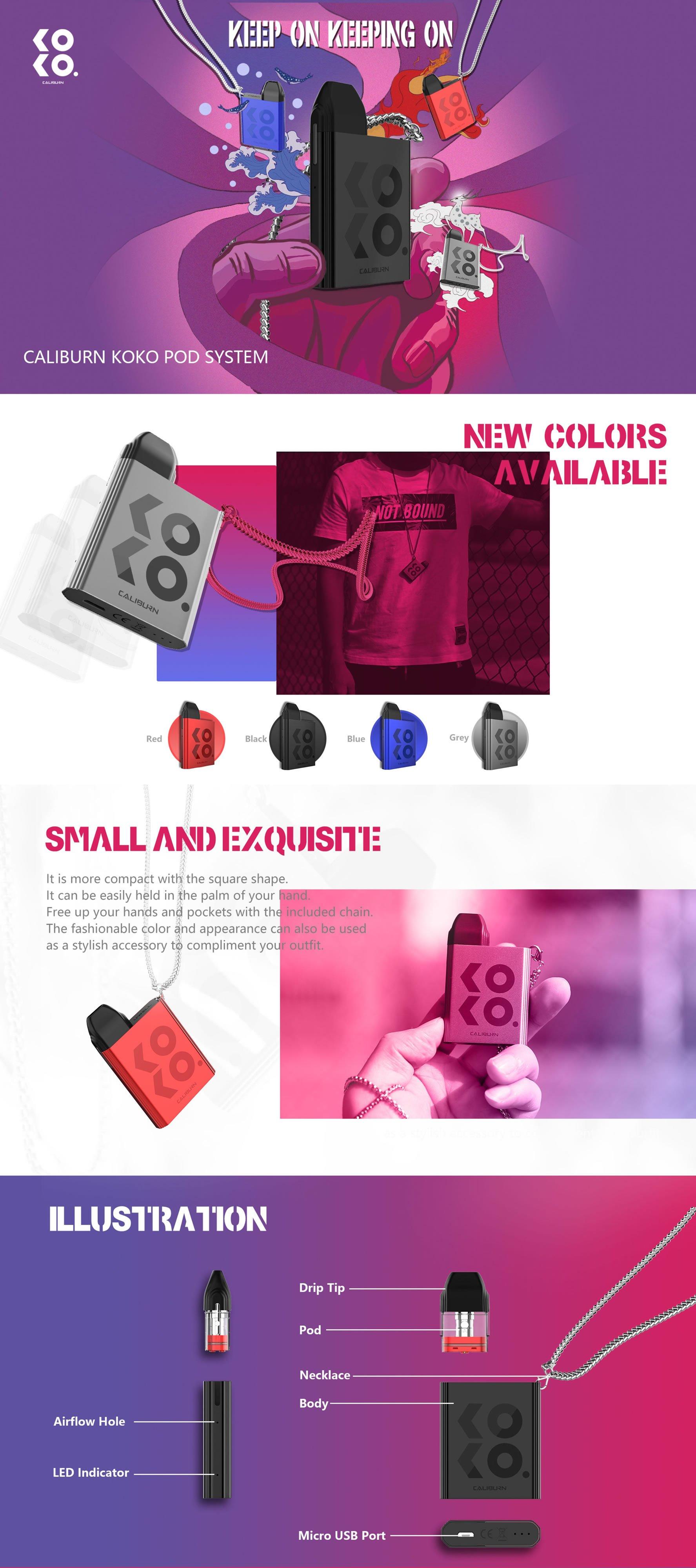 A infographic of the new Caliburn KOKO Pod Vape Kit
