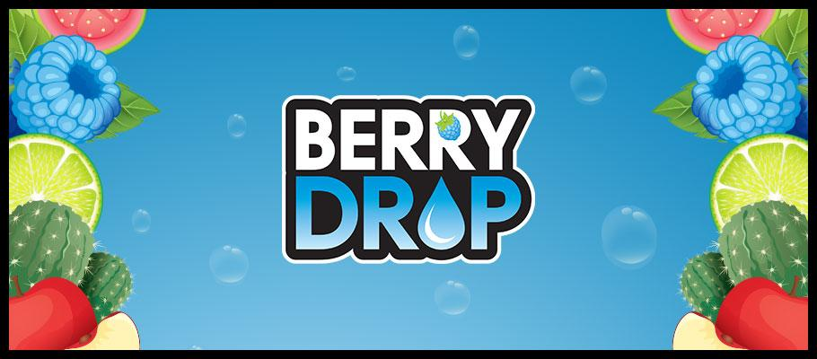 A promotional banner of the Berry Drop E-Liquid Brand