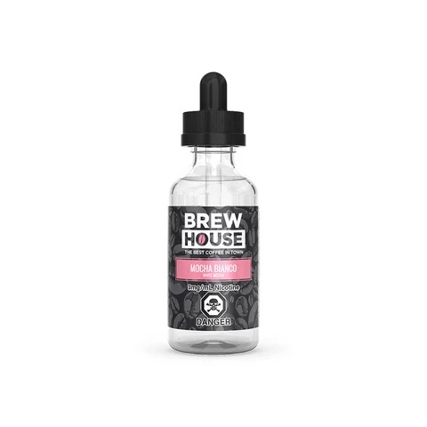 A 60mL bottle of the rich and chocolaty ejuice called Mocha Bianco by Brew House