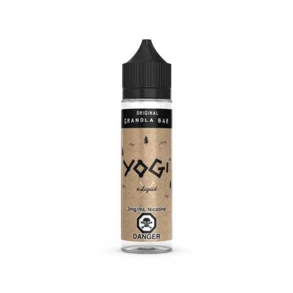 A 60mL bottle of the Original E-Liquid by Yogi Granola Bar flavor