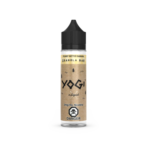A 60mL Bottle of Peanut Butter Banana E-Liquid by Yogi