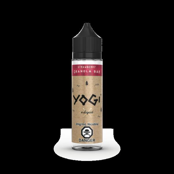 A 60mL bottle of Strawberry Granola Bar flavored E-Liquid by Yogi