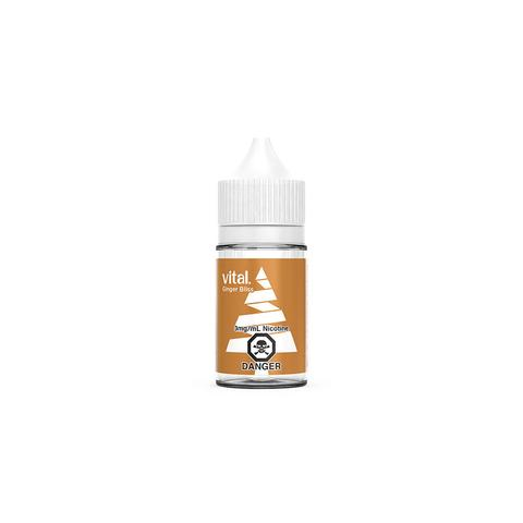 A 30mL bottle of the gingerbread cookie e-liquid by Vital
