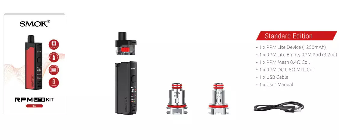 Box contents of the SMOK RPM Lite Kit