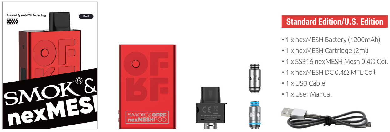 SMOK OFRF nexMESH Pod Kit box contents